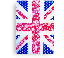 Union Jack with vintage flowers and polka dots Canvas Print