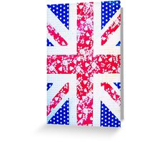 Union Jack with vintage flowers and polka dots Greeting Card