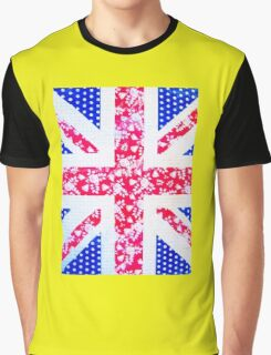 Union Jack with vintage flowers and polka dots Graphic T-Shirt