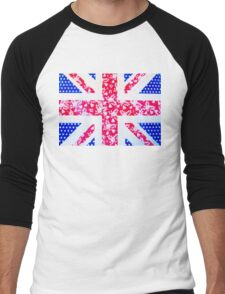 Union Jack with vintage flowers and polka dots Men's Baseball ¾ T-Shirt