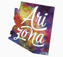 Arizona US State in watercolor text cut out Kids Tee