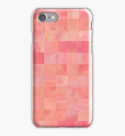 Coral and Pink Painted Squares Pattern iPhone Case/Skin