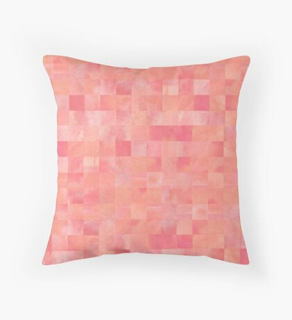 Coral and Pink Painted Squares Pattern Throw Pillow
