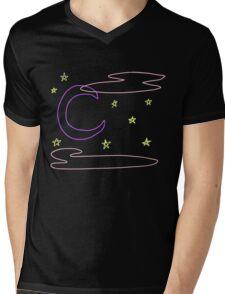 Neon Crescent Moon and Stars Mens V-Neck T-Shirt
