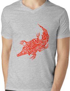 Abstract Red Crocodile Mens V-Neck T-Shirt