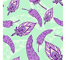 pattern with decorative violet feathers on mint background Photographic Print