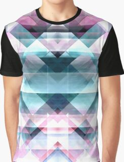 Girly Pink and Blue Abstract Geometric Pattern Graphic T-Shirt