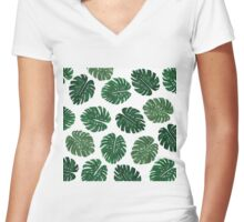 Tropical Hand Painted Swiss Cheese Plant Leaves Women's Fitted V-Neck T-Shirt
