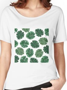 Tropical Hand Painted Swiss Cheese Plant Leaves Women's Relaxed Fit T-Shirt