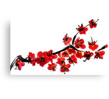 Pink flowers of cherry Canvas Print