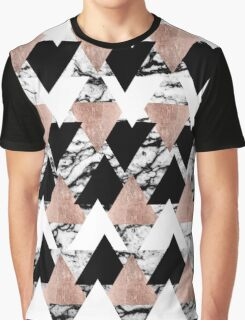 Modern Black White Rose Gold Triangles on Marble Graphic T-Shirt
