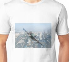 double exposure plane and cityscape Unisex T-Shirt