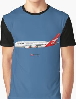 Illustration of Qantas Airbus A380 - Blue Version Graphic T-Shirt