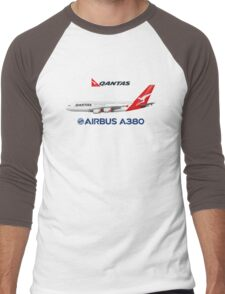 Illustration of Qantas Airbus A380 - Blue Version Men's Baseball ¾ T-Shirt