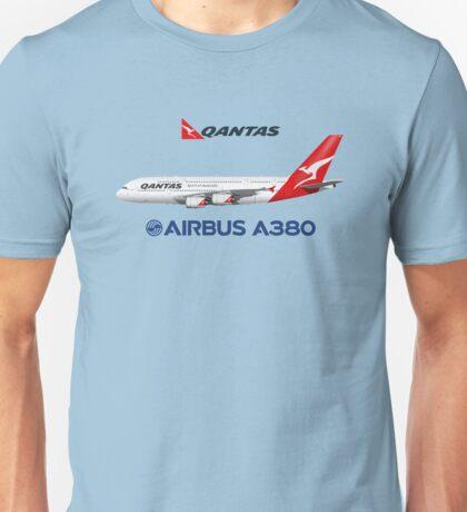 Illustration of Qantas Airbus A380 - Blue Version Unisex T-Shirt