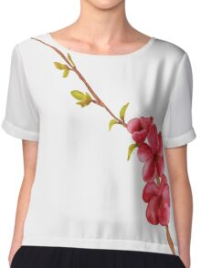 pink flowers and green leaves on a tree branch Chiffon Top