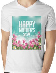 Happy Mothers Day tulips design Mens V-Neck T-Shirt