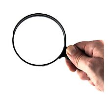 hand and magnifying glass  Photographic Print