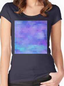 Athena, abstract geometric design in purples, aquas Women's Fitted Scoop T-Shirt