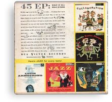 RCA Jazz  ep Back Cover Early 1950's Canvas Print