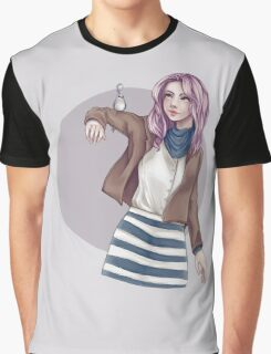 Cute Girl With a Bird Graphic T-Shirt