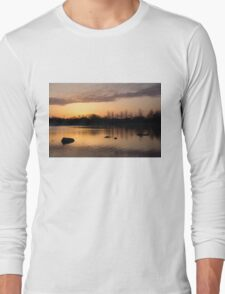 Gloaming - Subtle Pink, Lavender and Orange at the Lake Long Sleeve T-Shirt