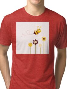 Adorable spring Bee flying around flowers Tri-blend T-Shirt