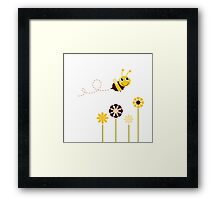 Adorable spring Bee flying around flowers Framed Print