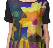 Chalk Blocked Daffodils Chiffon Top