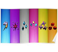 Mane Six Cutie Marks (My Little Pony) Metal Edition Poster