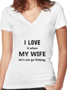 Love Wife Fishing Women's Fitted V-Neck T-Shirt