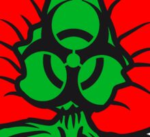 strawberry half cut delicious food biohazard sign, toxic poisons biologically Sticker