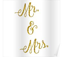 Mr & Mrs Gold Faux Foil Metallic Glitter Quote Isolated on White Background Poster