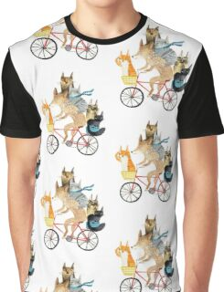 Dog and cats cycling Graphic T-Shirt