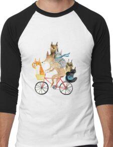 Dog and cats cycling Men's Baseball ¾ T-Shirt