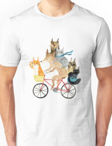 Dog and cats cycling Unisex T-Shirt