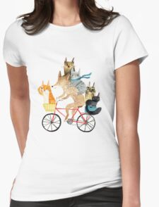 Dog and cats cycling Womens Fitted T-Shirt