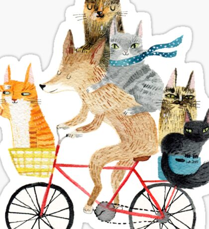 Dog and cats cycling Sticker