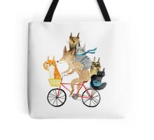 Dog and cats cycling Tote Bag