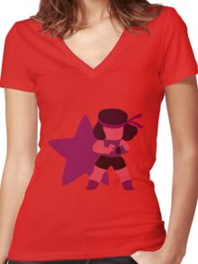 Ruby (Red) Women's Fitted V-Neck T-Shirt