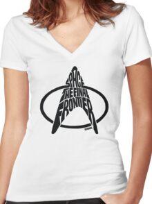 Star Trek Final Frontier (Black) Women's Fitted V-Neck T-Shirt