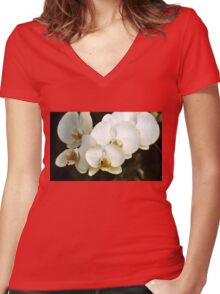 Orchids Women's Fitted V-Neck T-Shirt