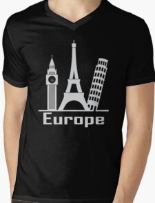 Europe Mens V-Neck T-Shirt
