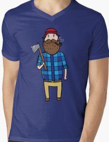 Lumberjack with an axe  Mens V-Neck T-Shirt
