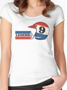 Vintage #9 Legend of Motocross Marty Smith Print  Women's Fitted Scoop T-Shirt