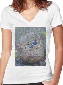 Blue Jay in Flower Pot Basket Women's Fitted V-Neck T-Shirt