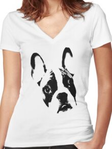Maxi the French Bulldog Women's Fitted V-Neck T-Shirt