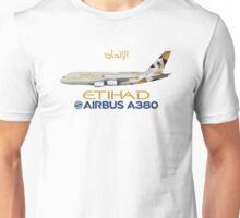 Illustration of Etihad Airways Airbus A380 Unisex T-Shirt