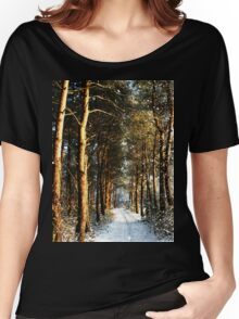 Forest Snow Scene Women's Relaxed Fit T-Shirt