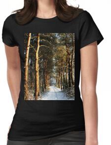 Forest Snow Scene Womens Fitted T-Shirt